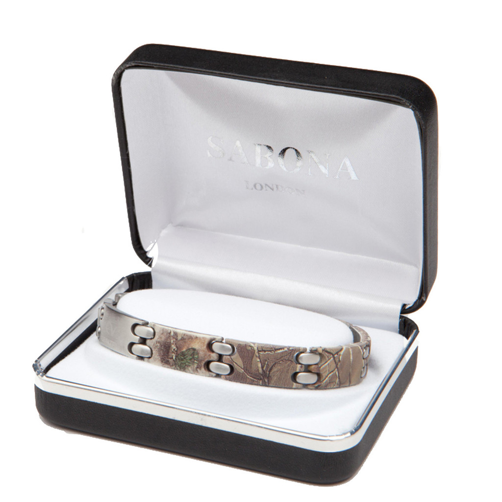 Realtree Xtra Stainless Steel Sport Magnetic Link Bracelet in Box
