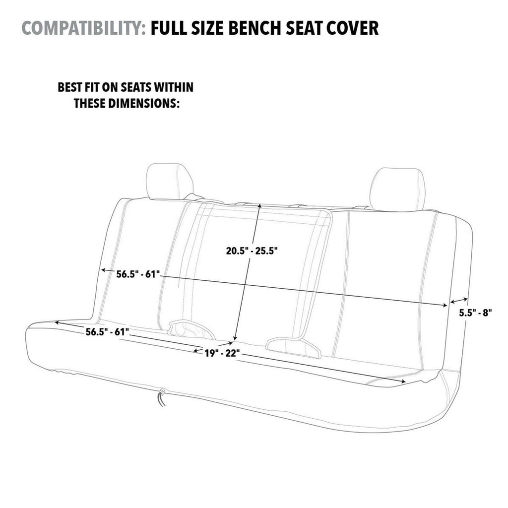 Realtree Black Switch Back Bench Seat Cover Size Chart