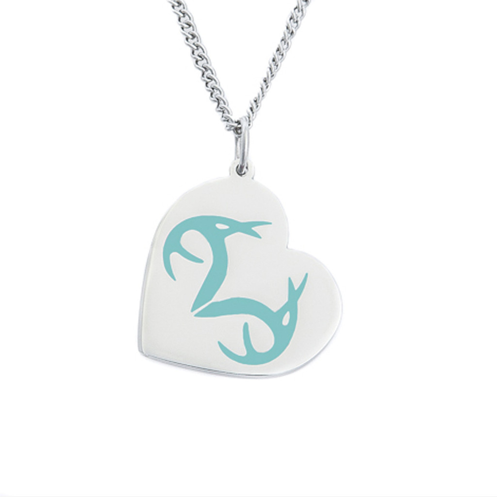 Stainless Steel Realtree Turquoise Heart pendant