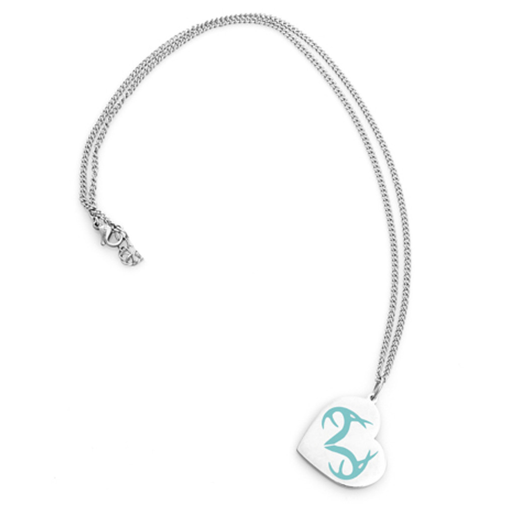 Stainless Steel Realtree Turquoise Heart pendant with Chain