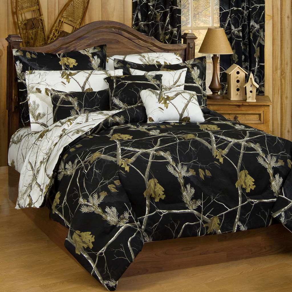 Realtree Ap Black Ap Snow Camo Comforter Sets