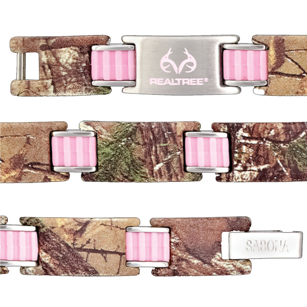 Realtree Stainless Steel Pink Link Magnetic Bracelet Close Up view