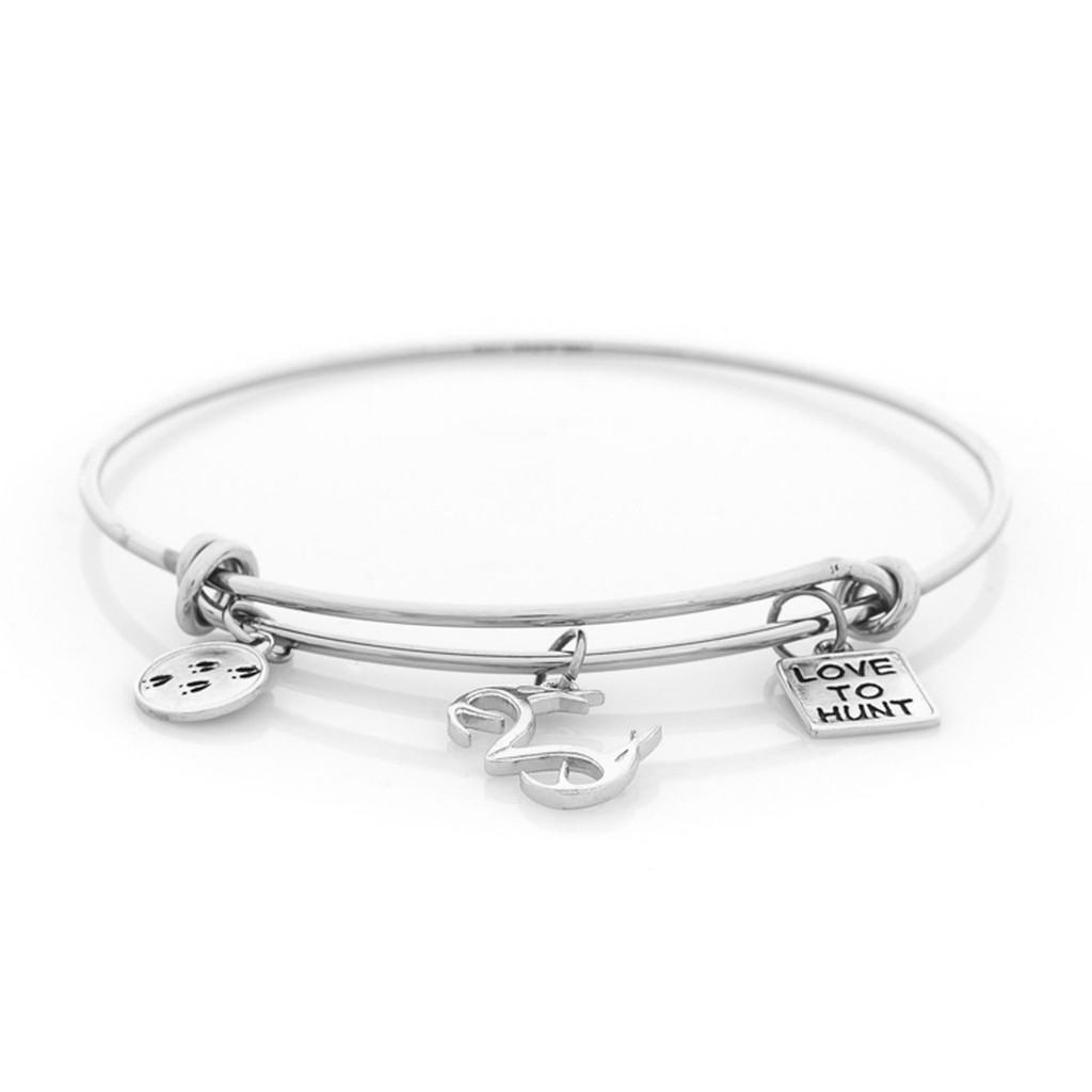Realtree Love to Hunt Charm Bangle Bracelet Silver Flat