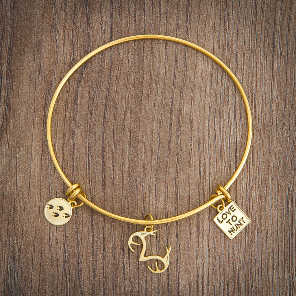 Realtree Love to Hunt Charm Bangle Bracelet Gold on Wood