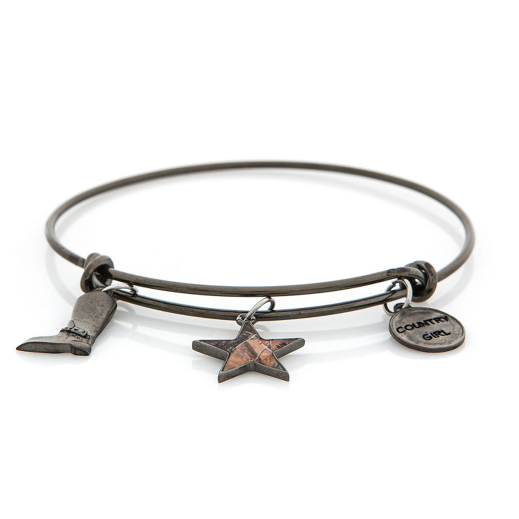 Realtree Country Girl Charm Bangle Bracelet in GunMetal Flat