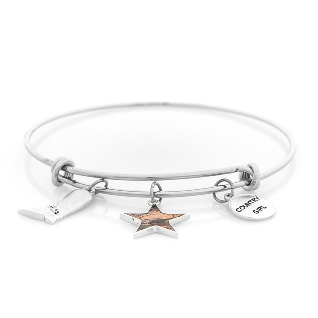 Realtree Country Girl Charm Bangle Bracelet in Silver Flat