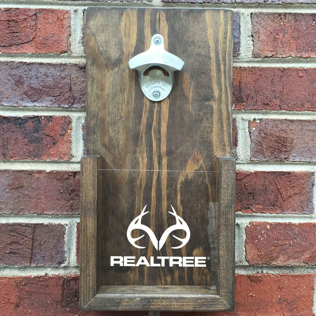 Realtree Wall Hanging Bottle Opener On Brick Wall