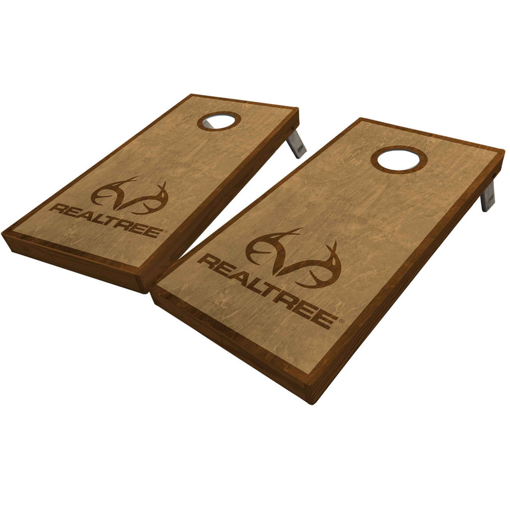 Realtree Antler Logo Stained Cornhole Boards Light