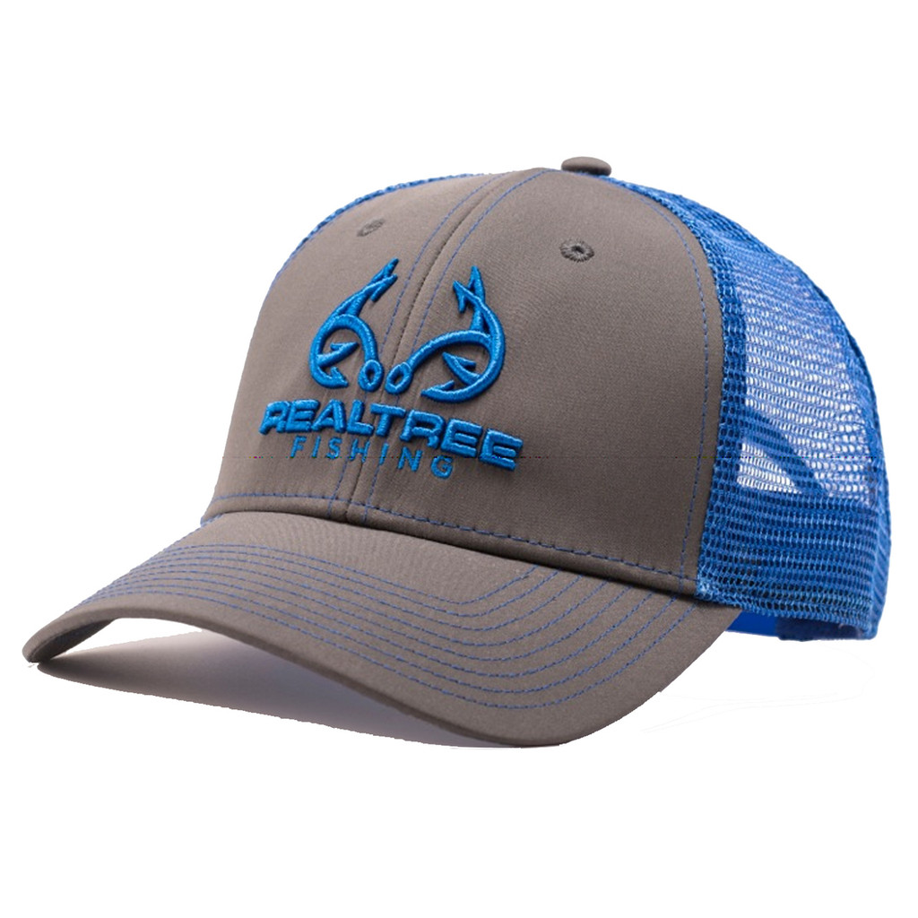 Custom Realtree Blue Fishing Logo Mesh Back Hat Side