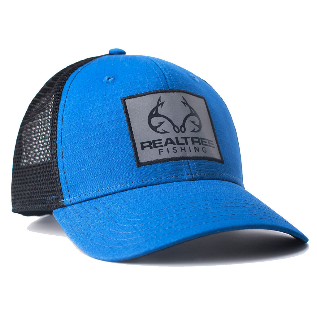 Fishing Blue RipStock Mesh Back Hat Side
