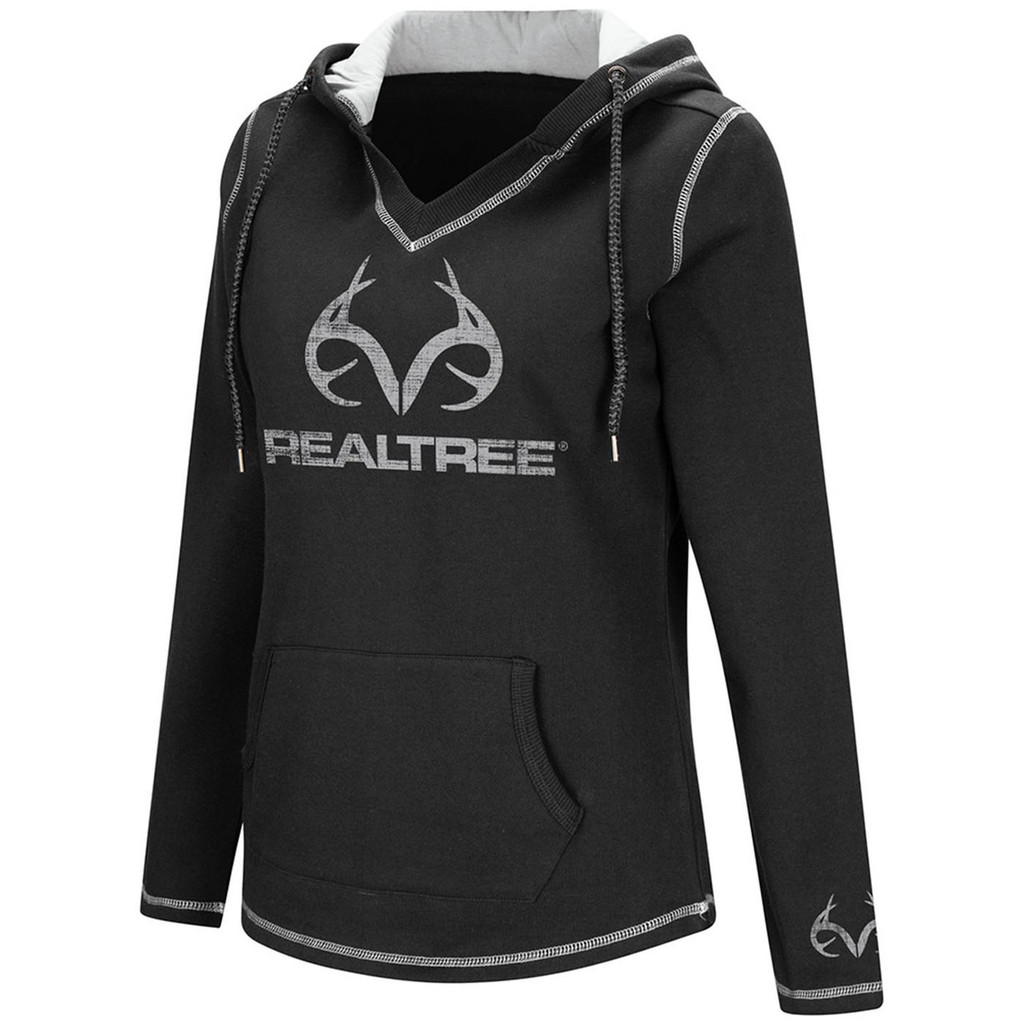 Realtree Women's Black Fleece Antler Logo Hoodie