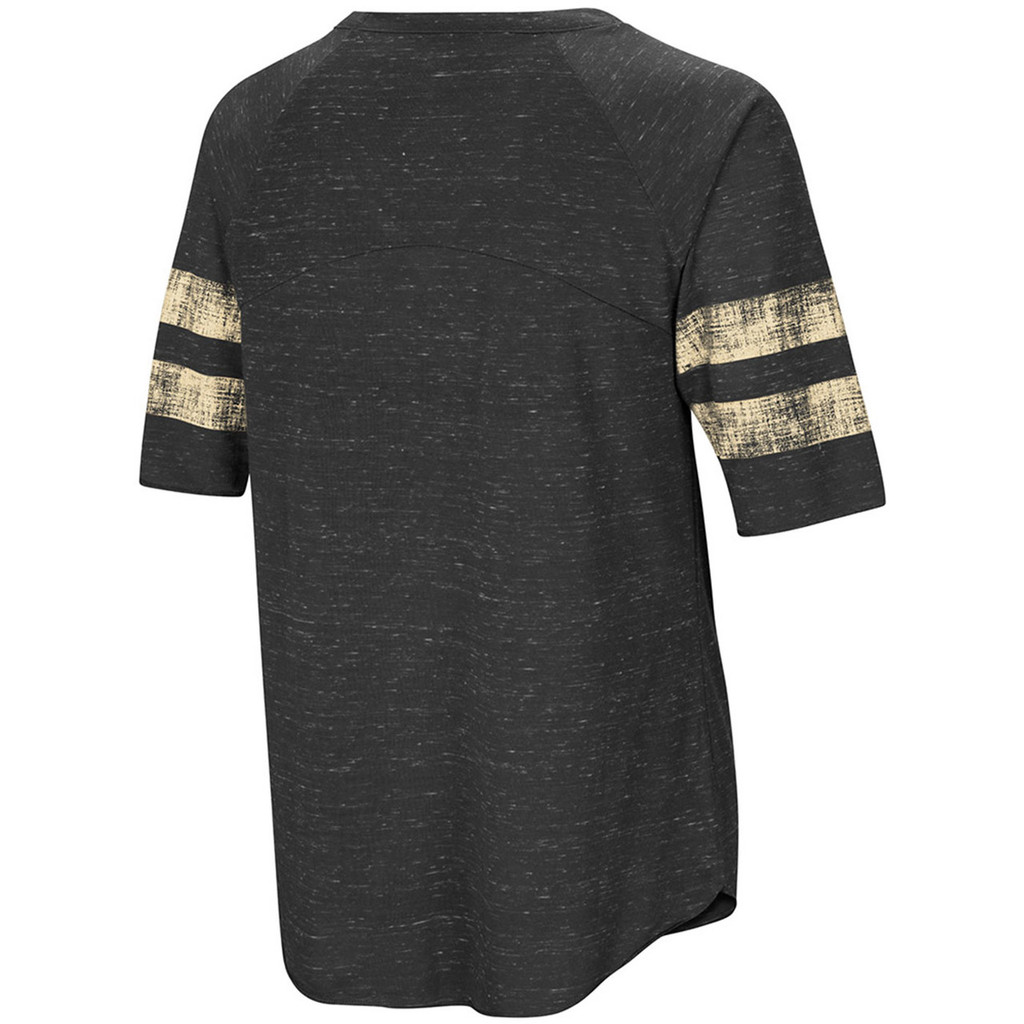 Women's Black Speckled Yarn Raglan Shirt Back