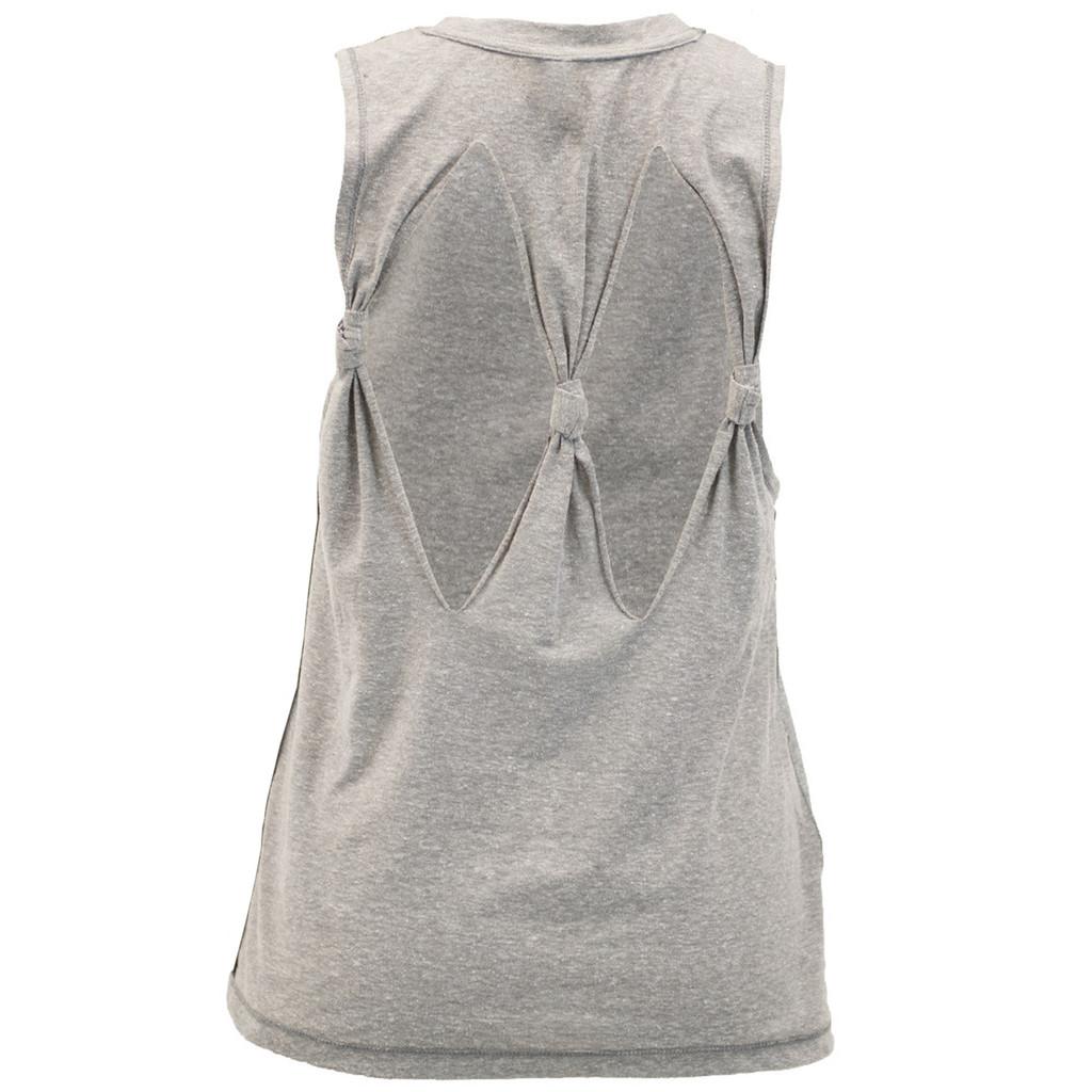 Women's Fishing Tie-Back Tank Gray Back Image