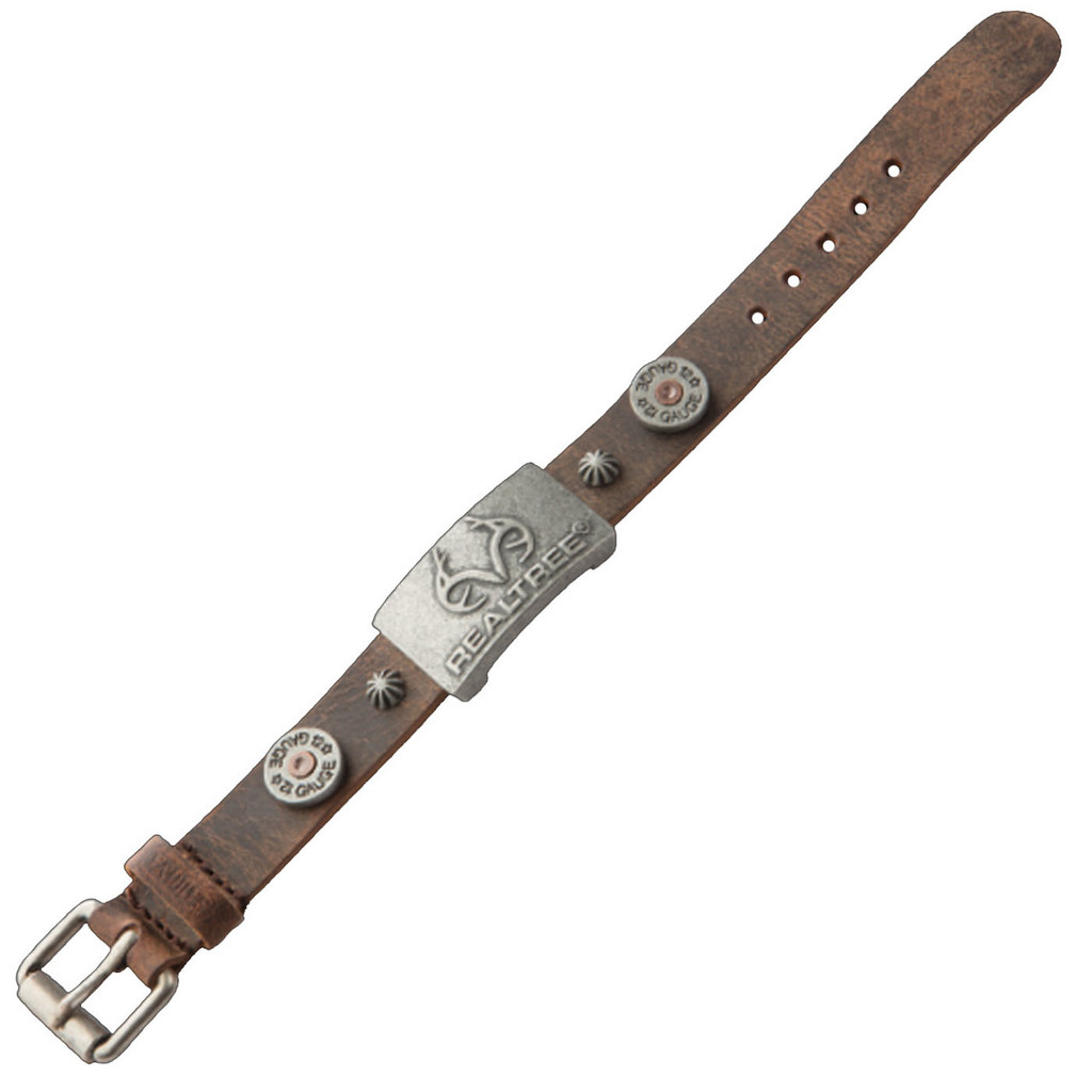 Realtree Brown Leather Magnetic Wristband Flat