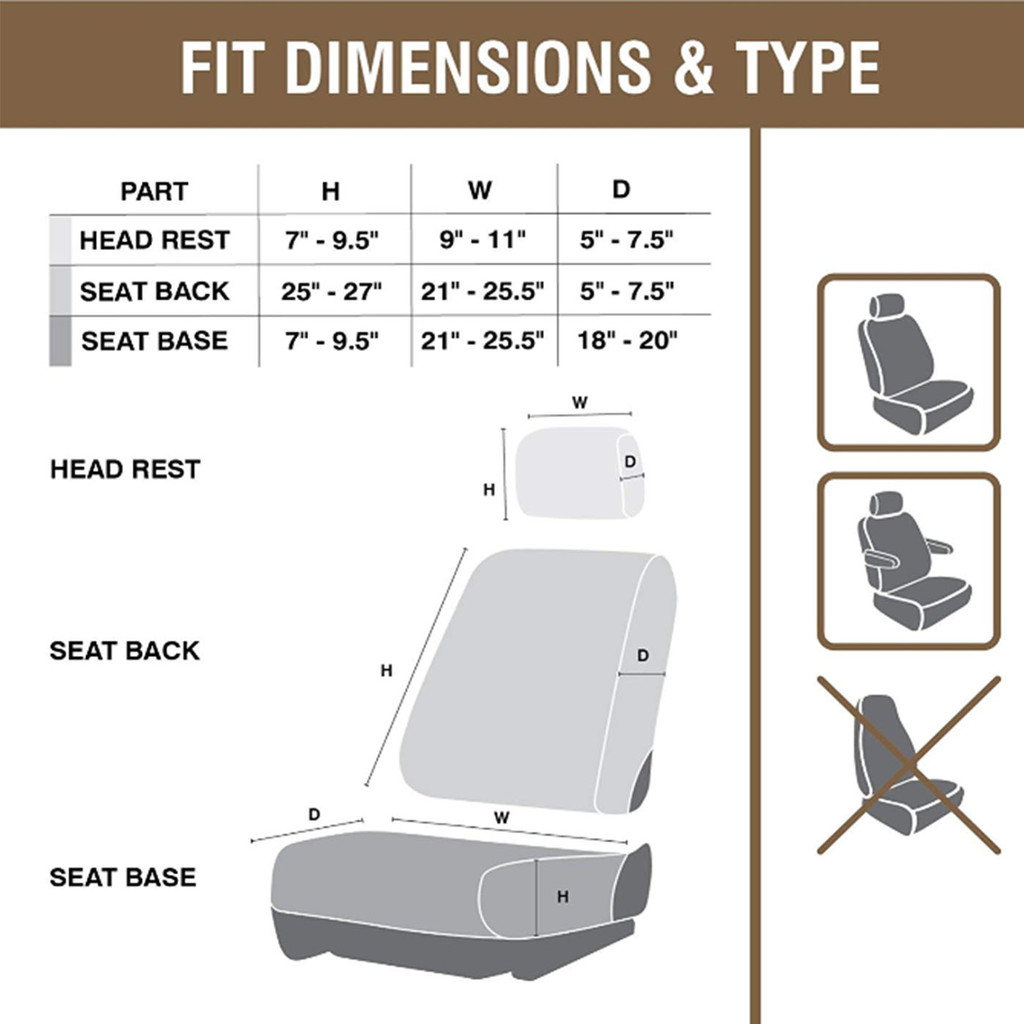 Realtree Edge Lowback Seat Cover Set Size Chart