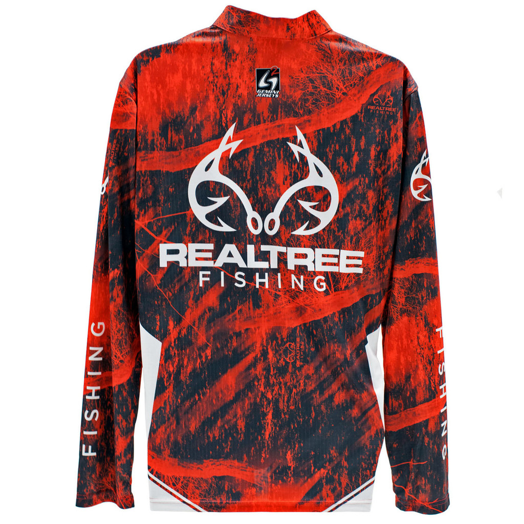 Realtree Fishing Red Banded Zipper Tactical Jersey  Back