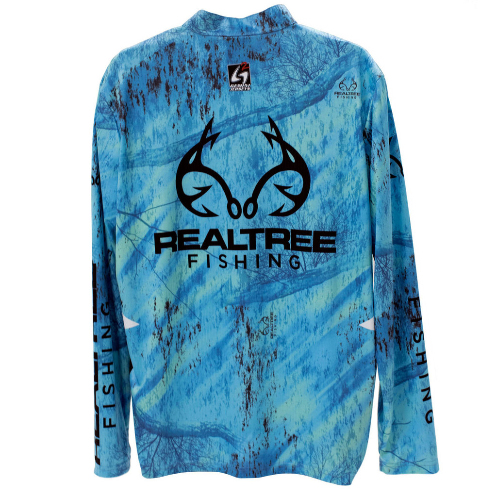 Realtree Fishing Teal Banded Zipper Tactical Jersey Back