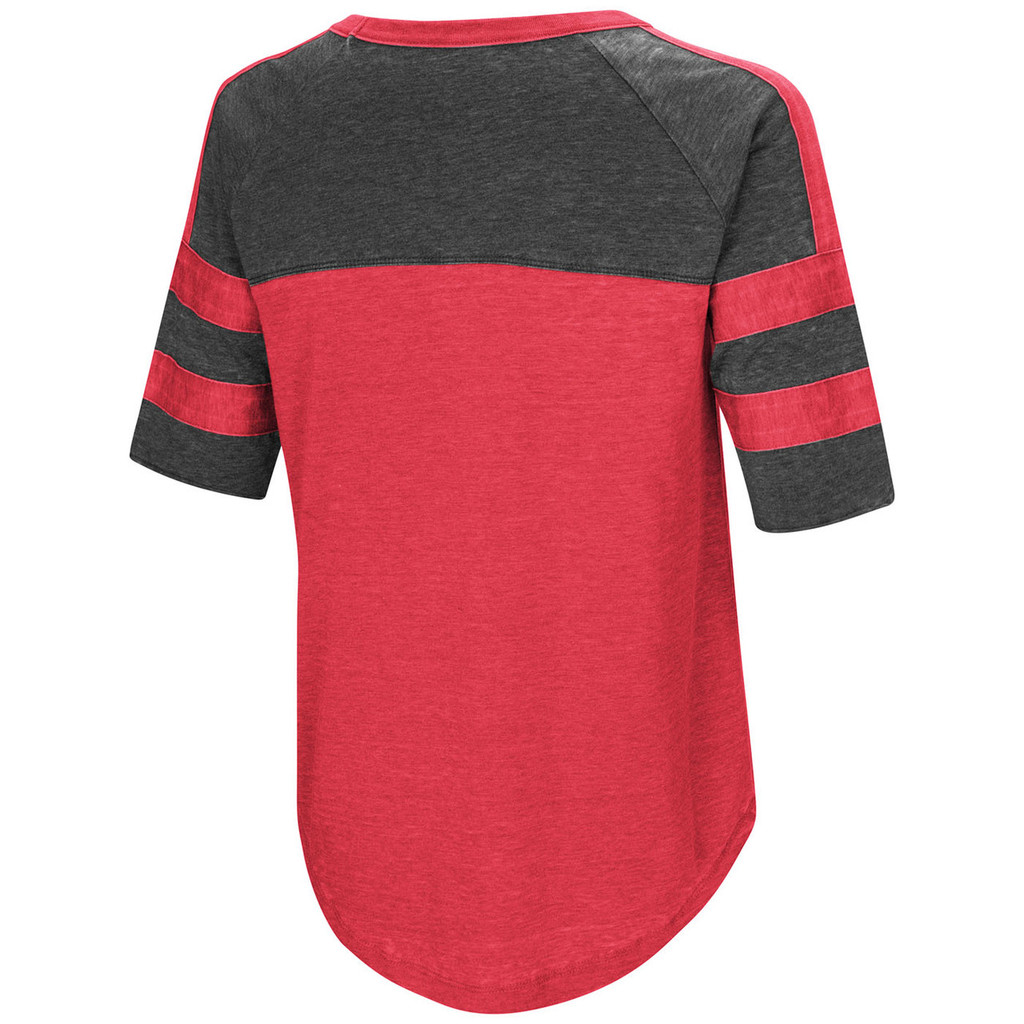Women's Double Stripe Burnout Shirt Red Back Image