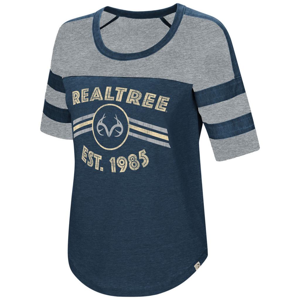 Women's Double Stripe Burnout Shirt Navy Image