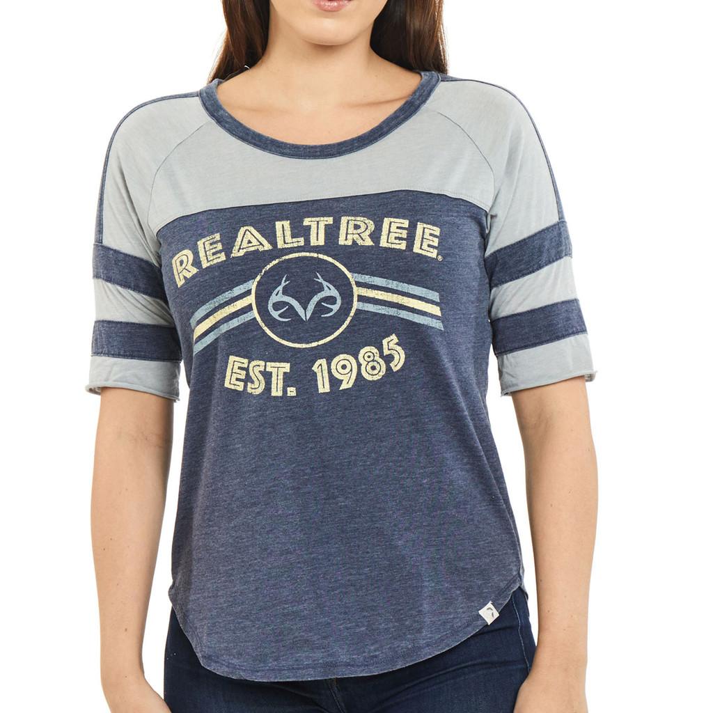 Women's Double Stripe Burnout Shirt Navy