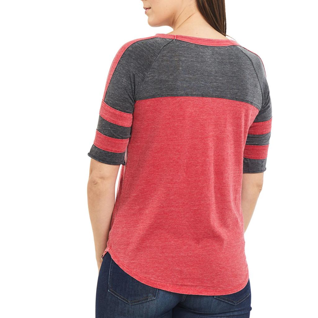 Women's Double Stripe Burnout Shirt Red Back