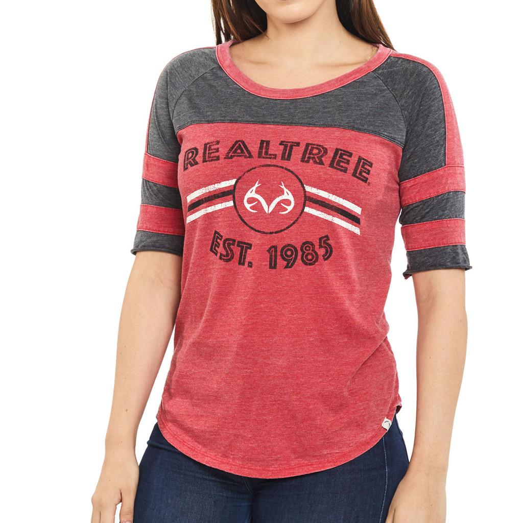 Women's Double Stripe Burnout Shirt Red