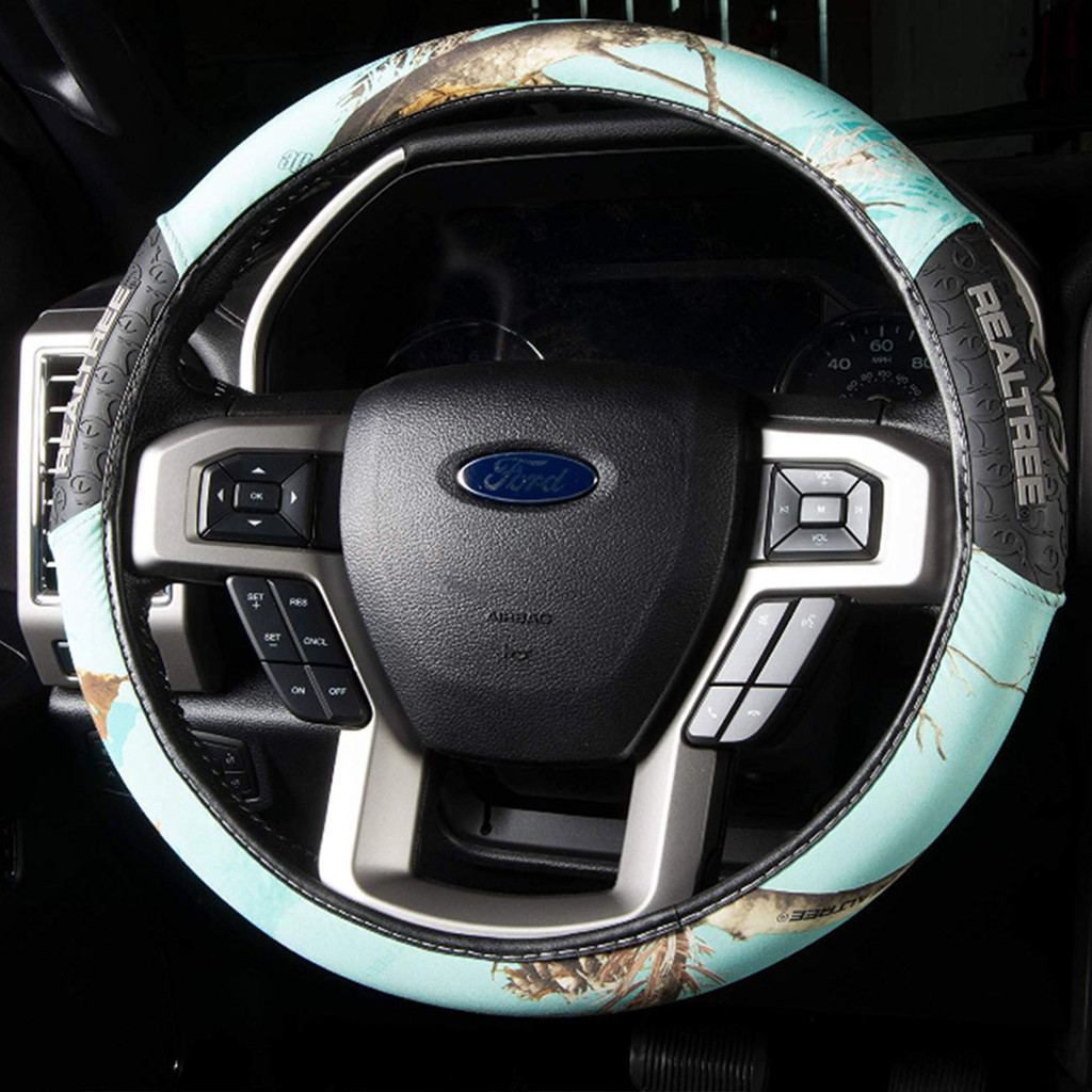 5 - Piece Realtree Mint Auto Steering Wheel on Car