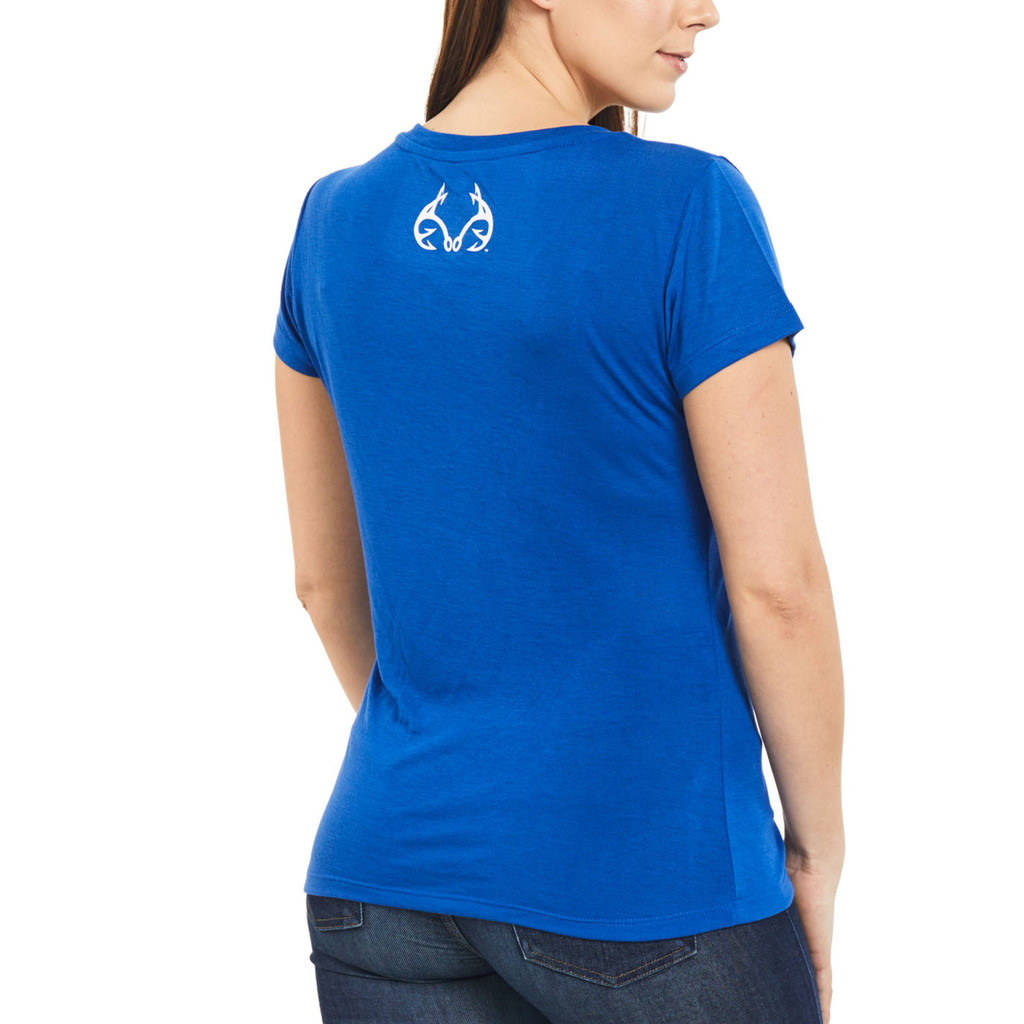 Women's Fishing V-Neck Shirt Blue Back