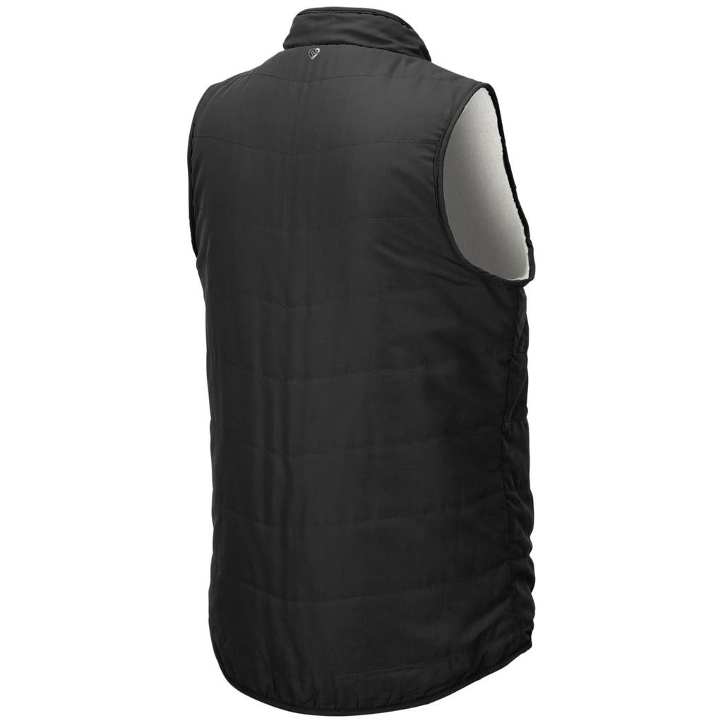 Women's Reversible Sherpa Fleece Vest Black Back