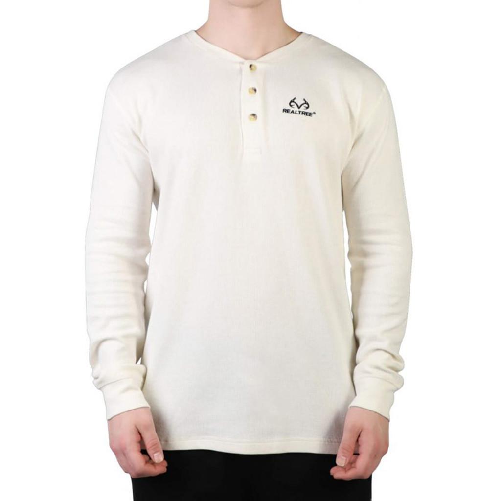 Men's Longsleeve White Thermal Henley