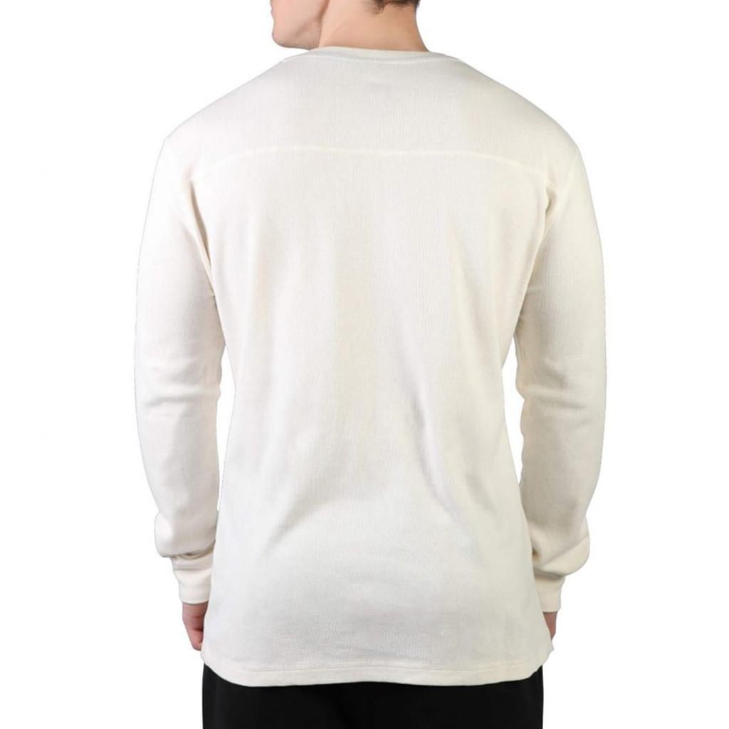 Men's Longsleeve White Thermal Henley Back