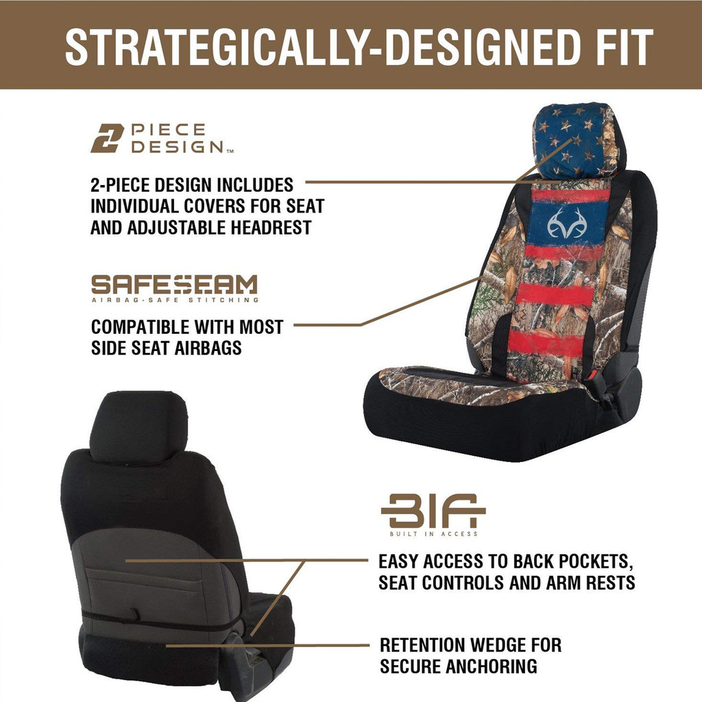 Realtree Edge/Americana Lowback Seat Cover Details