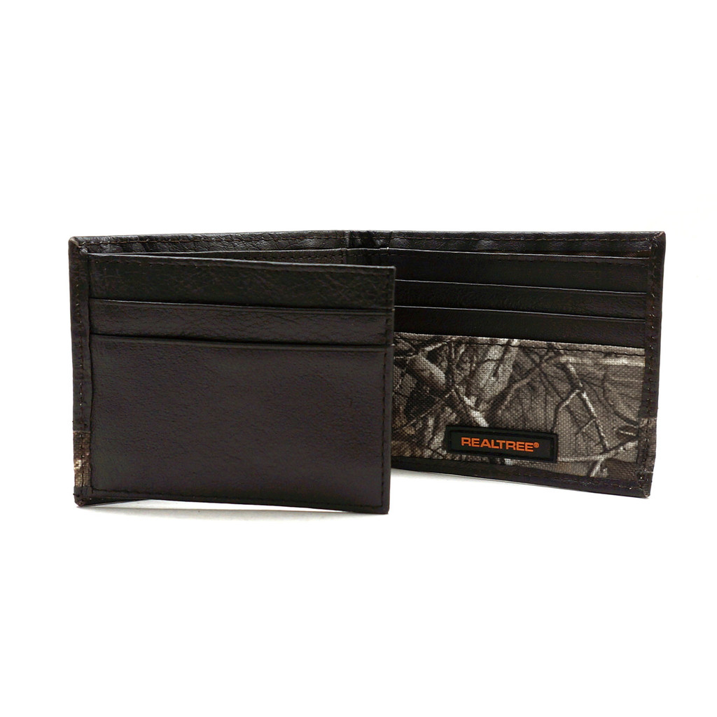 Passcase Wallet with Camouflage insert and woven label open
