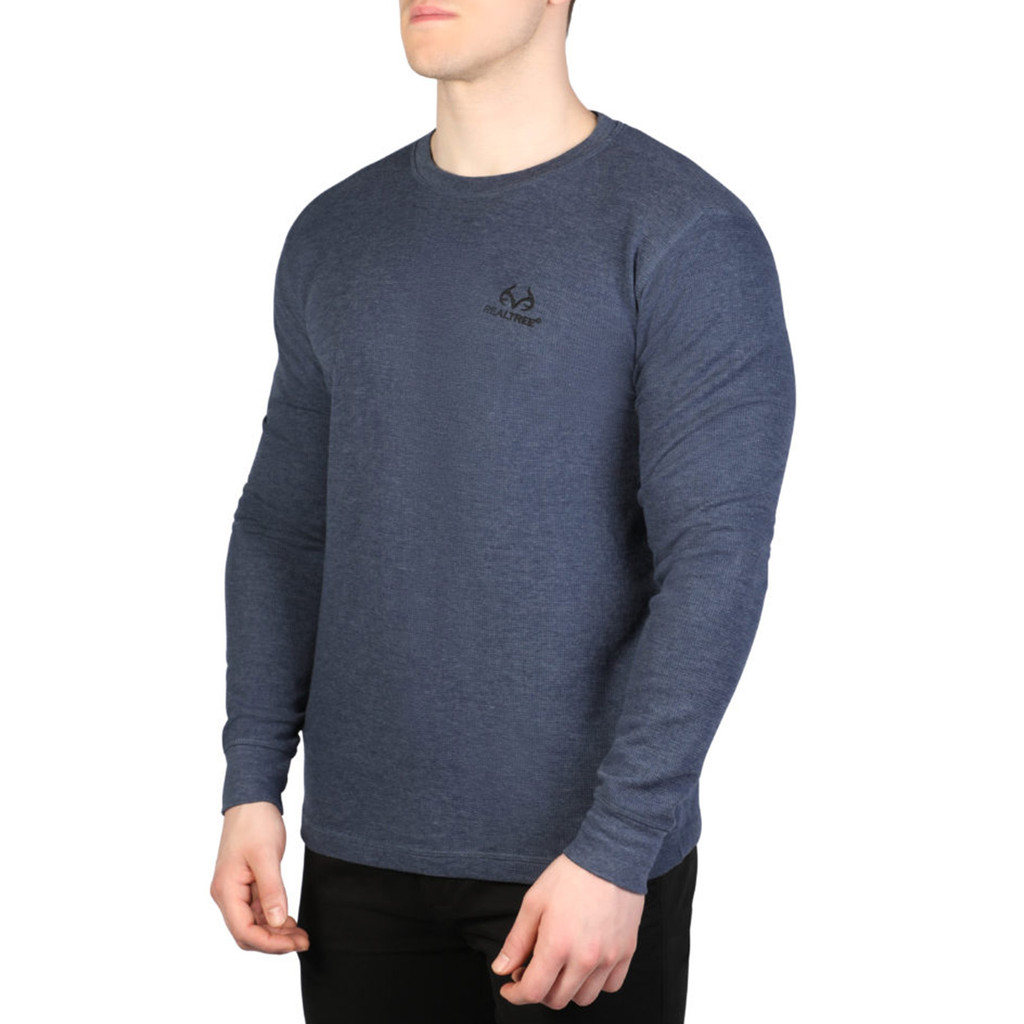 Men's Longsleeve Thermal Henley Navy Side