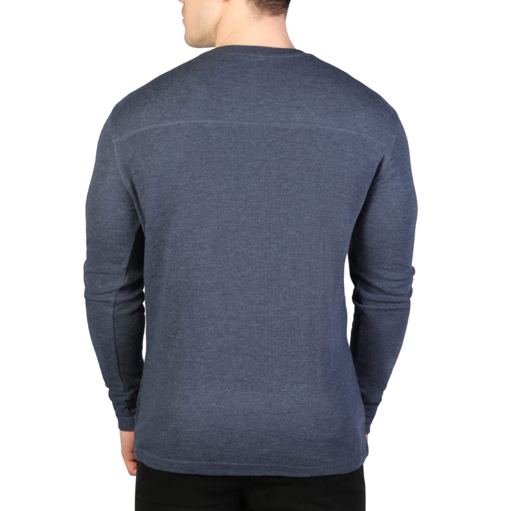 Men's Longsleeve Thermal Henley Navy Back