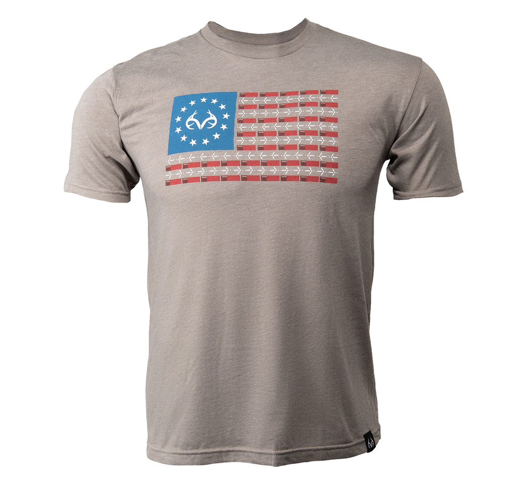 Men's Realtree Turkey Flag Short Sleeve Gray Shirt