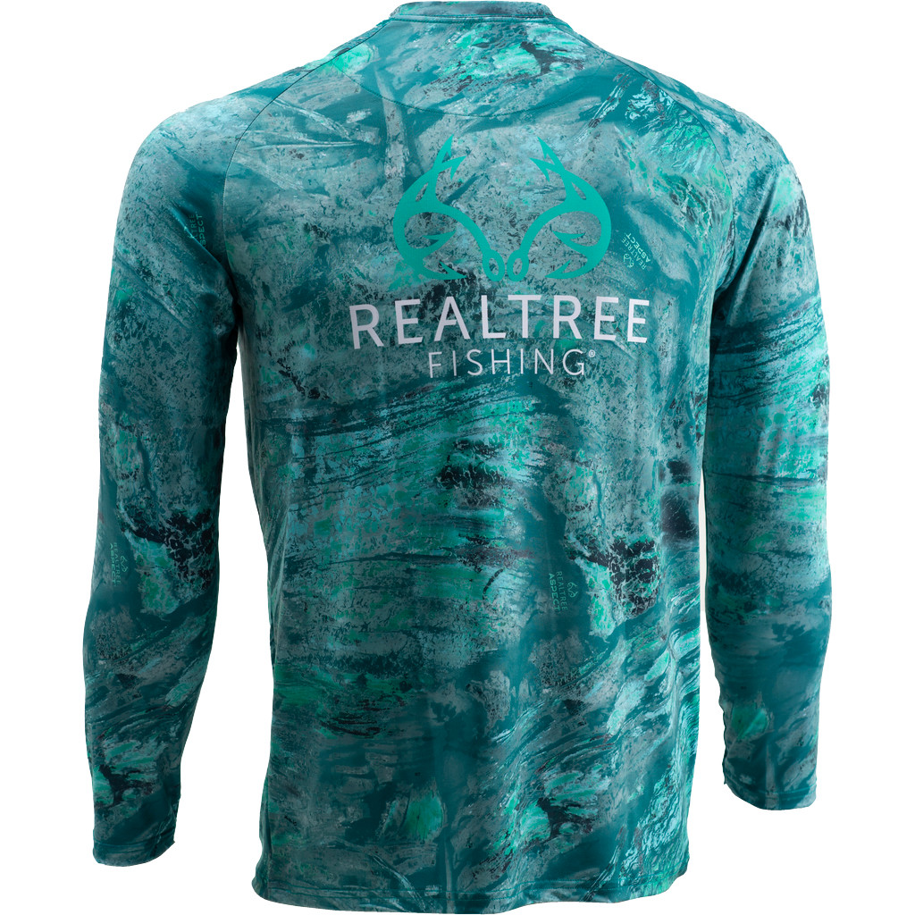 Youth Realtree Aspect Teal Waters Fishing Performance Long Sleeve Shirt