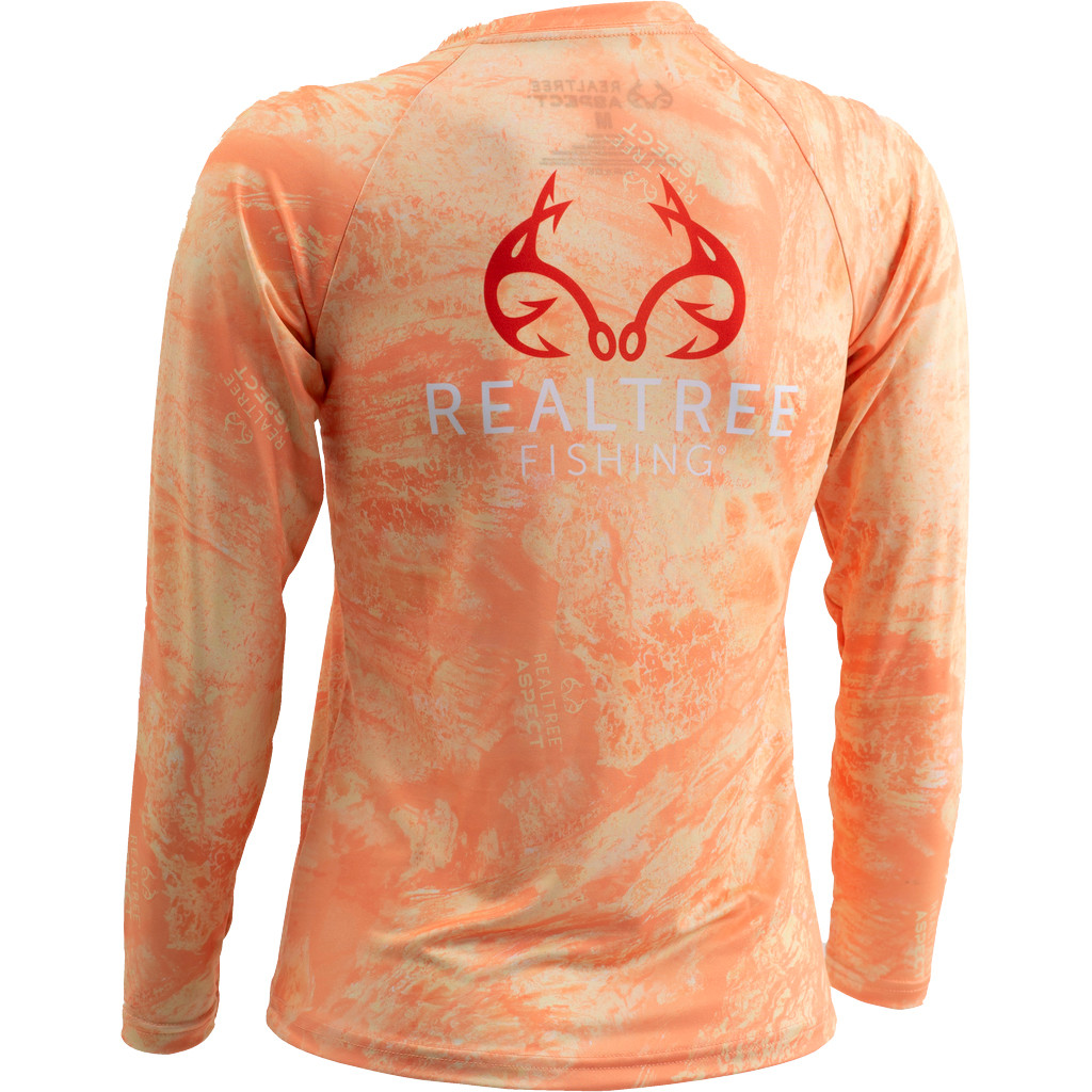 Youth Realtree Aspect Orange Sorbet Fishing Performance Long Sleeve Shirt