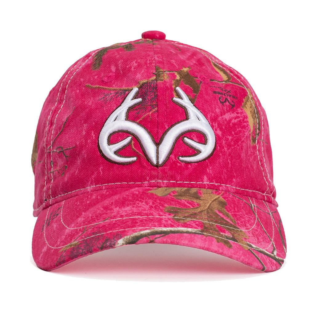 Realtree Women's Antler Logo Hat Hot Pink Front