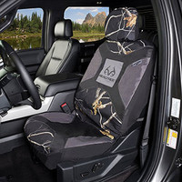 Realtree Black Camo Low Back Bucket Seat Cover in use
