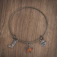 Realtree Country Girl Charm Bangle Bracelet GunMetal on Wood