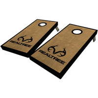 Realtree Antler Logo Stained Cornhole Boards Dark