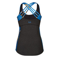 Realtree Women's Blue Camo CrissCross Back Active Tank Back View