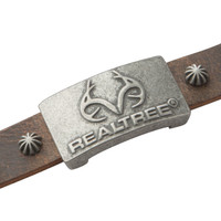 Realtree Brown Leather Magnetic Wristband Antler Logo