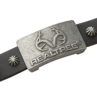 Realtree Black Leather Magnetic Wristband Logo