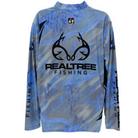 Realtree Fishing Gray Banded Zipper Tactical Jersey Back