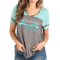 Women's Mint Short Sleeve Burnout Shirt
