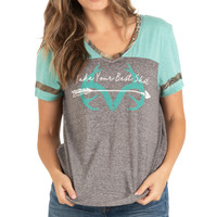 Women's Mint Short Sleeve Burnout Shirt Details