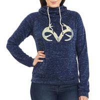 Women's Speckled Fleece Cowl Neck Hoodie in Navy