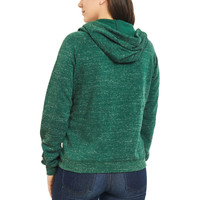 Women's Speckled Fleece Cowl Neck Hoodie in Green Back